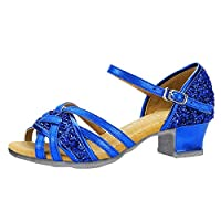Zerototens Sandals for Girls Latin Dance Shoes Low Heel Sequins Buckle Strap Ballroom Dance Shoes Performance Training Shoes 5-14 Years Old Blue