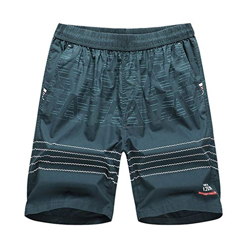 Xmiral Shorts Herren Einfach Gedruckte Elastische Taille Lässig Kurze Hosen Slim Fit Gerade Cargohose Jogginghose Sportshorts Chino-Hose(e Grün,3XL)