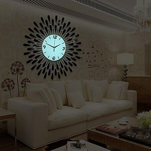 Wall clocks Mute Große Wanduhr, Metall Shell/Glas Spiegel/Glas Zifferblatt Material (Nicht enthalten) / Wohnzimmer Schlafzimmer TV Kulisse Uhren (Farbe : Luminous, größe : 70cm)