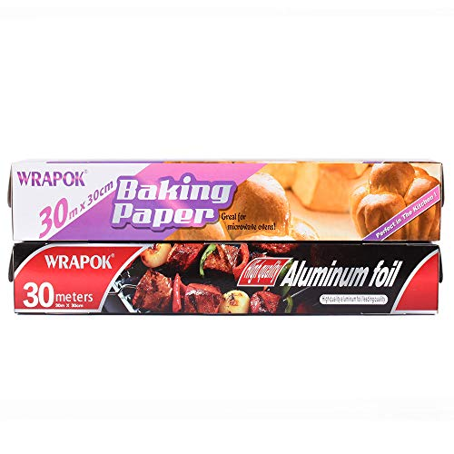 WRAPOK 1 x Küche Non Stick Catering Folie und 1 x Back Pergamentpapier Kombination Anzug für Küche, Rolle 30 cm x 30 m