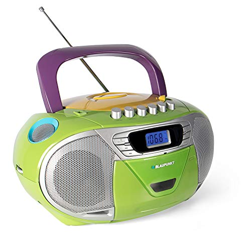 Blaupunkt B 110 MC, PLL, tragbarer Kinder CD Player, Hörbuch Funktion und USB mit Kassettenplayer, tragbares CD-Radio, Aux In, Kopfhöreranschluss, PLL UKW Tuner (Bunt)