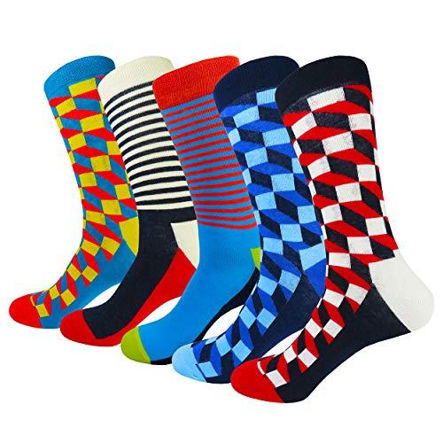 HIWEAR Mens 5er-Pack Bunt gemusterter Luxus-Design-Komfort-Kleid aus Baumwollbeiläufiger Socke UK 6-14 (L:UK 8-12/EU 41-46, Grid3-5 pack) -