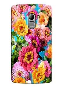 Omnam Pink Flower Pattern Puzzle Effect Printed Designer Back Cover Case For Lenovo K4 Note