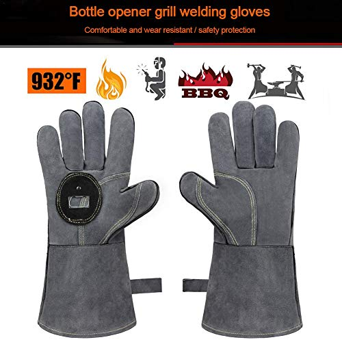 Blue-Yan Grillofenhandschuhe Lederschmiedeschweißhandschuhe Hitzebeständig - Grillhandschuhe mit Flaschenöffner zum Grillen, Grillen, Backen Fitting