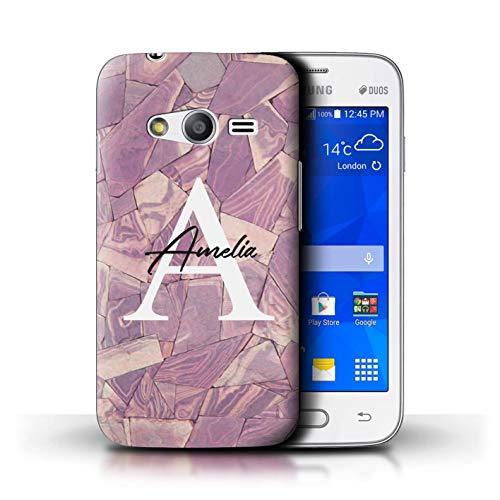 eSwish Personalizzato Moda Marmo Pietra Personalizzare Custodia/Cover per Samsung Galaxy Trend 2 Lite/G318 / Tessere Mosaico Viola Malva Design/Iniziale/Nome/Testo Caso/Cassa