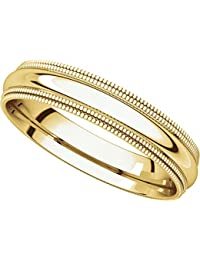 14ct Yellow Gold, Double Milgrain Wedding Band 4MM (sz H to Z5)