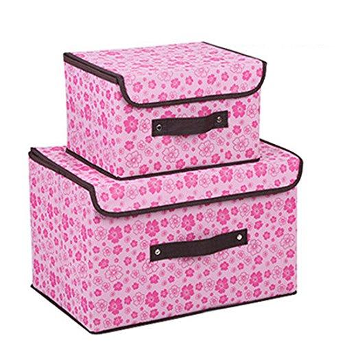 n mit Deckel, Aufbewahrung Cube Korb Set 2, groß Aufbewahrung canbinet Daisy-hot Pink ()