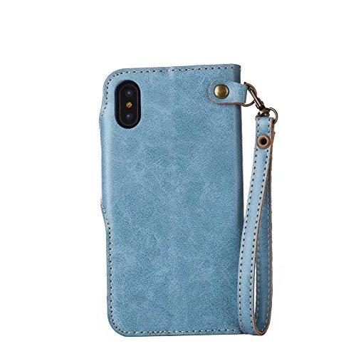 JIALUN-Telefon Fall Für IPhone X, mit Lanyard, magnetischer Schnalle Die Rosen öffnen die Telefon-Shell ( Color : Khaki ) Blue