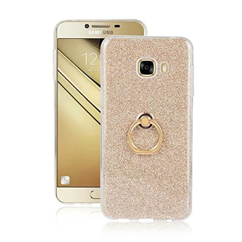 Luxus Bling Sparkle Style Case, Soft TPU [Silikon] Flexible Glitter Back Cover mit Fingerring Stand [Anti Scratch] [Shockproof] für Samsung Galaxy C5 ( Color : Pink ) Gold