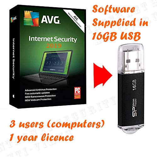 Price comparison product image AVG Internet Security 2019 for 3 Users / Computers 1 Year Licence (Ultimate Antivirus Malware,  supplied in 16GB USB Stick,  Windows 10,  8,  7 Compatible )