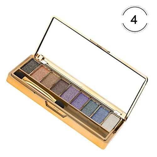 smileq 9Farben Shimmer Lidschatten professionelle Lidschatten Palette Make-Up Kosmetik Pinsel Set Fashion Mädchen Kleid Geschenk, a
