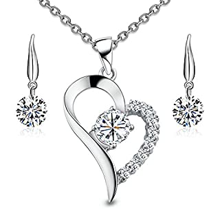 Juvée Eros & Aglaia S-002-A Women's Jewellery Set Including Necklace & Earrings 925 Sterling Silver & Rhodium Plated Zirconia White
