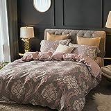PUWENYCC Einfache Serie Baumwolle Bettbezug Set mit Super Soft Bettlaken Kissenbezug, 4 Stück (Size : Queen)