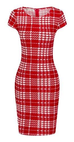 Fortuning's JDS Stilvolle Print Bodycon kurze Ärmel runder Ausschnitt Empire-Taille Einfaches Minikleid für Frauen, S-3XL Europa Größe, Rot (Silhouette Definition Kostüm)