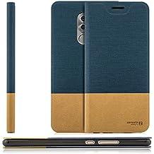 Custodia Huawei Honor 6X Cover Flip Wallet [Zanasta Designs] Case Copertura con Portafoglio - Pieghevole con Porta Carte, Alta Qualità | Blu