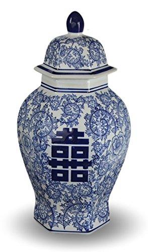 35,6cm Klassisches Blau und Weiß Porzellan floral Tempel Jar Vase, China Ming Stil, Jingdezhen, frei Holz Boden, Double Happiness (Ginger Jar Vase)