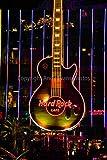 Hard Rock Cafe, eine Fotografische Print Foto von ein die Hard Rock Cafe Neon Gitarre Zeichen bei Nacht in Las Vegas Nevada Amerika USA Portrait Foto Farbe Bild Fine Art Print Poster 8