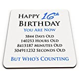 Happy 16th Birthday You Are Now Days Hours Minutes Seconds Old Novelty Glossy Mug Coaster - Blue