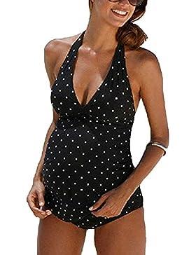 Swimwear delle donne incinte di stampa delle donne incinte che nuotano vestito a due pezzi delle parti superiori...