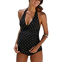 Impresión de la Onda de Las Mujeres Mujeres Embarazadas Traje de baño Dividido Natación Moda Tops de Dos Piezas + Briefs Casual Swimwear