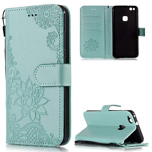 FNBK Handyhülle für Huawei P10 Lite Leder Brieftasche, Blumen Flip Wallet Stand Case Card Slot Leder Tasche Karteneinschub Magnetverschluß Kratzfestes Grün Schutzhülle für Huawei P10 Lite (Brieftasche Magie)