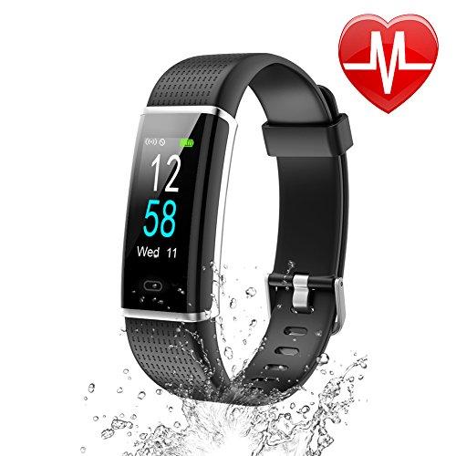 Letsfit Unisex Youth Armband mit Pulsmesser Fitness Tracker Farbbildschirm Schrittzähler IP68 Wasserdicht Schwimmen Aktivitätstracker mit Schlafanalyse Kalorienzähler Kompatibel mit Android Smartphone, Single