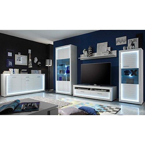 Wohnwand & Sideboard Hochglanz weiß Vitrine Anbauwand Schrankwand Fernsehschrank