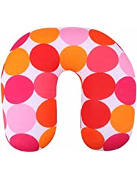 Buckle Up Orange-Pink Micro-Beads Filled Travel Neck Pillow