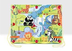 Beehive Toys BHT435 Laberinto magnético, Juguete de Aprendizaje de Madera con Animales del Zoo, Multi