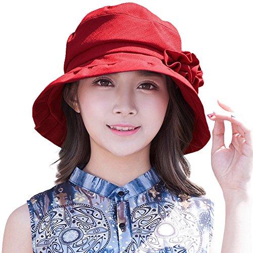 SIGGI Sonnenhut weinroter Eimer Hut für Damen Fischerhüte Sommerhüte UV 50+ Schutz