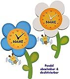 Unbekannt 3-D Effekt _ Wanduhr - weiße Blume mit Biene  - incl. Name - sehr leise ! - 44 cm groß - Uhr aus Holz - Pendel abnehmbar - für Kinderzimmer & Wohnzimmer - A..