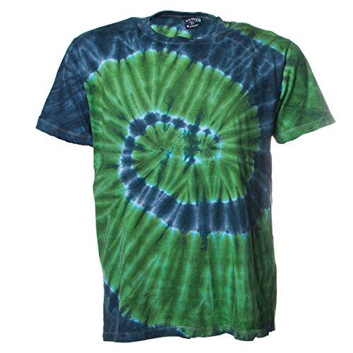 Kunst und Magie Herren Buntes 70er Retro Hippie Batik T-Shirt IM Tie Dye Batiklook, Größe:XL, Farbe:Blau/Gruen (Grün Tie-dye Blau)