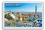 AWS Imán de PVC Duro Barcelona Barcelona España Spain Souvenir imán Fridge Magnet imán de nevera de plástico dura con imagen fotográfica Ciudad recordatorio vacaciones