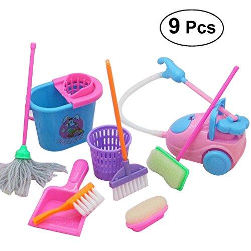 TOYMYTOY 9 stücke Kinder Spielzeug Reinigungsset Mini Boden Besen Mopp Staubsammler Spielset für Barbie Puppenhaus Reinigung (Rondom Farbe)