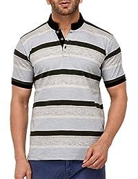 9ZEUS Half Sleeve Slim Fit 100% Cotton Off-White T-Shirt For Men