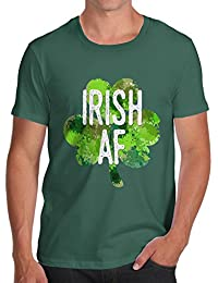 TWISTED ENVY Irish AF Men's Novelty 100% Cotton T-Shirt, Crew Neck, Comfortable and Soft Classic Tee with Unique Design