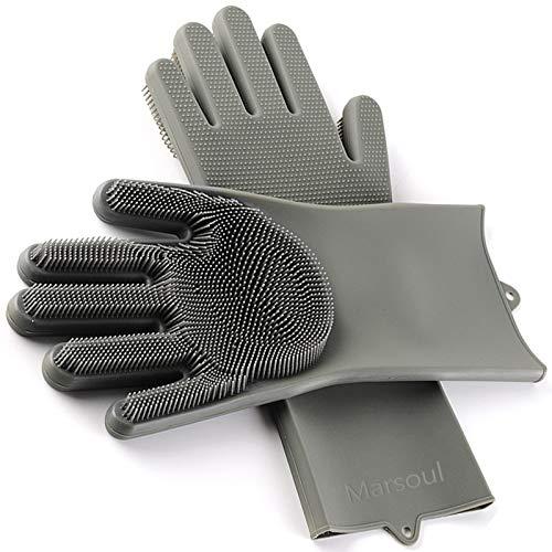 Yartners Magic Saksak Silikon-Handschuhe Wash Scrubber, hitzebeständige Wiederverwendbare Bürste Silikon Dish Scrubber für Reinigung, Haushalt, Geschirrspülen, Das Auto Waschen, Pet Hair Care
