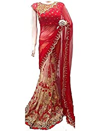 Macube Women's Georgette Embroidered Saree With Blouse Piece - MS1149_25_Red And Beige_Free Size