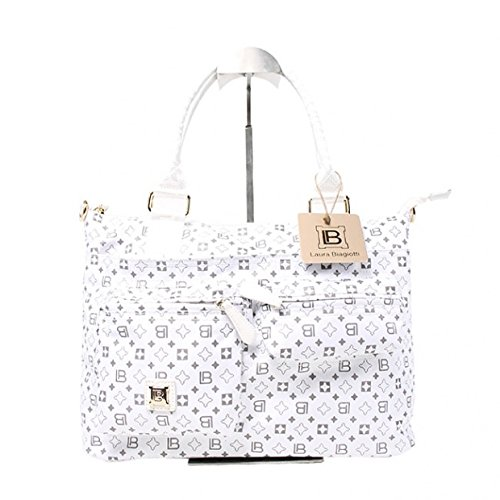 Borsa donna Laura Biagiotti l.microfibbra mod.shopping a mano 3708-14 bianco