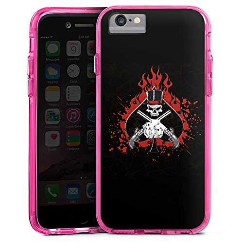 Apple iPhone 8 Bumper Hülle Bumper Case Glitzer Hülle Totenkopf Skull Fire Bumper Case transparent pink
