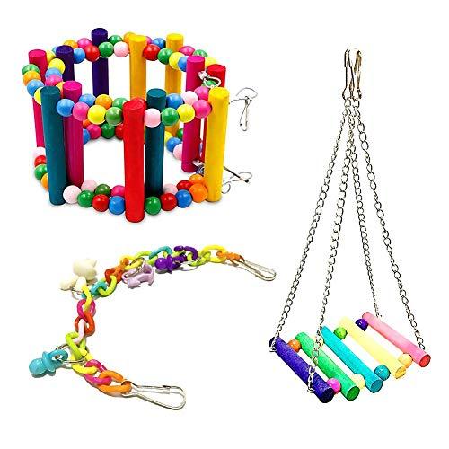 3 Pièces Ensemble Jouet De Cage Jouet de balançoire coloré d'oiseaux Suspendre Jouets Cloche De Bois Coloré Perles Accessoires décoratifs pour de Petites Cages