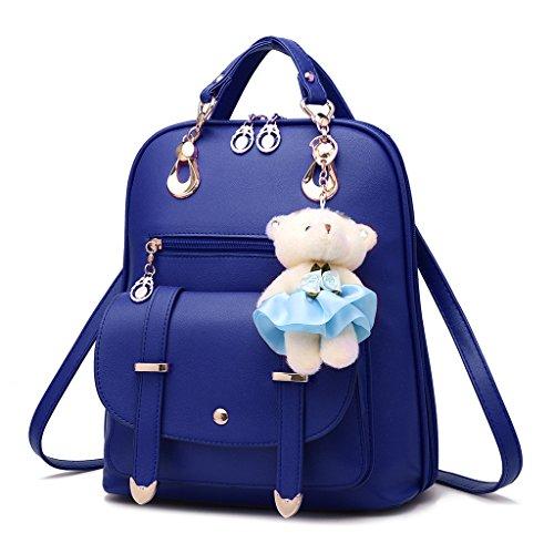 Frauen Rucksack PU-Leder Umhängetasche, College-Stil Design - Handtasche mit niedlichen Cartoon Bär Anhänger Zubehör, Mädchen Umhängetasche geeignet zum Einkaufen, Reisen, Schule, Freizeit ( Farbe : Dark blue )