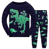 feiXIANG Baby Boy T-Shirt Tops Pants Outfits Set Cartoon Dinosaurier Kids Schlafanzug Langarm Nachtwäsche(Marine,5)