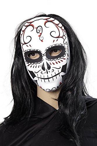 Billige Kostüme Amazon Halloween (Heitmann Deco Halloween-Maske für Erwachsene - Totenkopf Maske passend zum mexikanischen Totentag - Day of the)