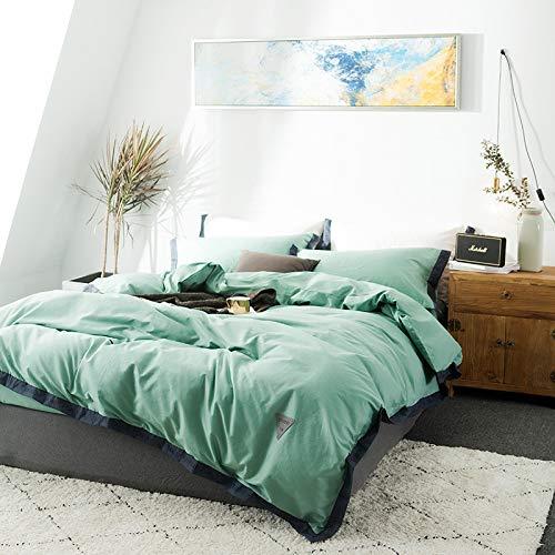 JXWANG Housses De Couettes Housse De Couette 100% Coton Tissu Haute Densité Respirant Durable Ensembles De Literie,Green-150x200cm
