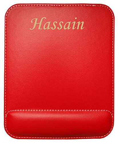 Preisvergleich Produktbild Kundenspezifischer gravierter Mauspad aus Kunstleder mit Namen Hassain (Vorname / Zuname / Spitzname)