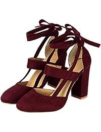 Liquidación! Covermason Moda Mujer Sandalia de tacón de aguja Sandalia de tacón de tobillo para la fiesta de la boda(41 EU, rojo)