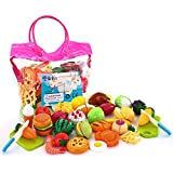 Food Toys,SONi 32 PCS Kitchen Pretend Play Food for Baby Kids Cutting Toys Plastic Fruit Playset