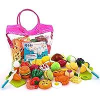 SONi Tagliare i giocattoli 32 PCS Taglio Frutta e Finti Alimenti, Set Gioco per Bambini, Gioco Educativo d'Apprendimento, Accessori Cucina