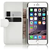 iPhone 6 / 6s Lederhülle | JAMMYLIZARD Ledertasche [ Wallet Tasche Series ] Leder Book Case Hülle Flip Cover Schutzhülle mit Kartenfach, Weiß
